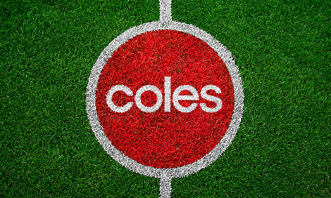 Coles logo in the AFL centre circle