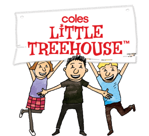 Free little treehouse book logo with Andy, Terry and Jill holding a Coles Little Treehouse banner