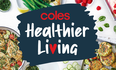 Coles Healthier Living logo surrounded by healthy recipes and fresh vegetables