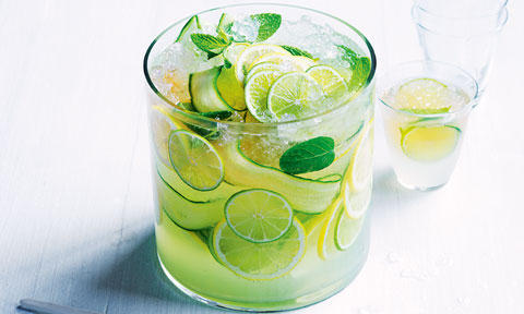 A cucumber, lemon and lime cooler with mint leaves