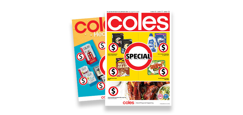 Front page of two coles catalogues
